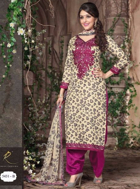 Rakhi 5429B Beige and Purple Color Designer Suit