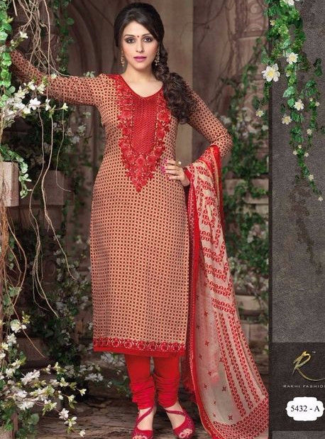Rakhi 5431A Beige & Red Color Cotton Designer Suit