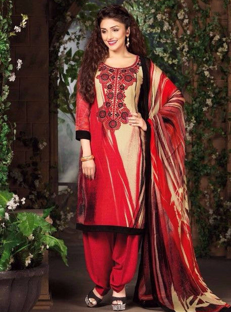 Rakhi 7108A Red Color Pashmina Designer Suit