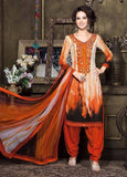 Rakhi 7117B Orange & Beige Color Pashmina Designer Suit