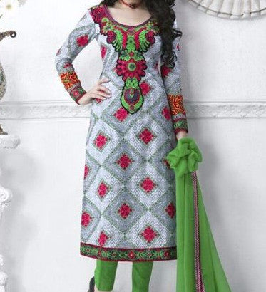 Rakhi 7315 White & Green Color Cotton Designer Suit