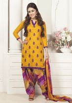 Rakhi 7382 Yellow Color Cotton Designer Suit