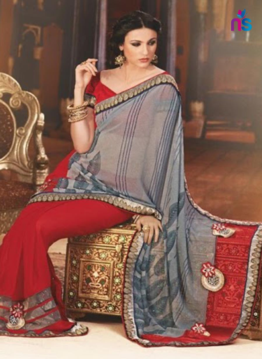 NS11420 Grey and Red Wedding Wear Georgette Saree