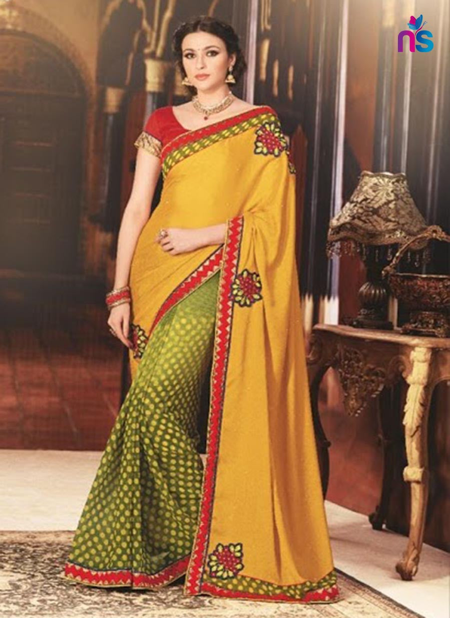 NS11421 Yellow and Green Wedding Wear Georgette Saree