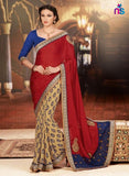 NS11425 Red and Brown Wedding Wear Georgette Saree