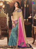 NS11424 Brown and Multicolor Wedding Wear Georgette Saree