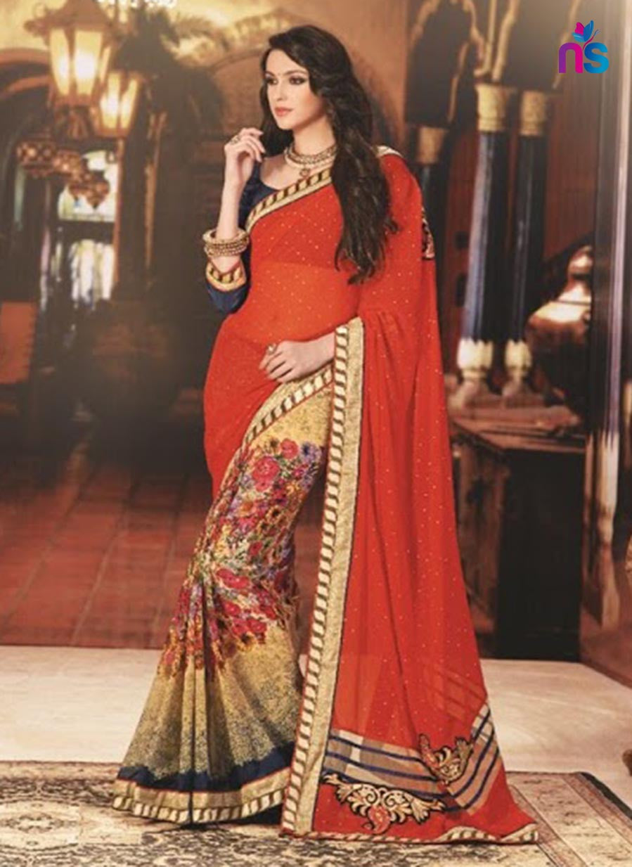 NS11419 Orange and Beige Wedding Wear Georgette Saree