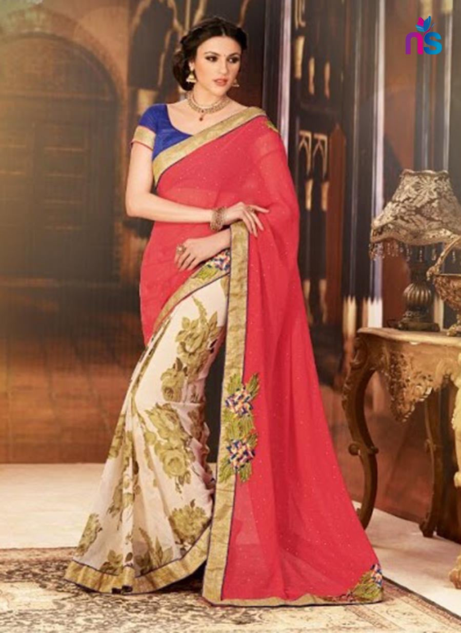 NS11426 Red and Beige Wedding Wear Georgette Saree