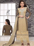 NS11450  Beige Chiffon Long Designer Suit