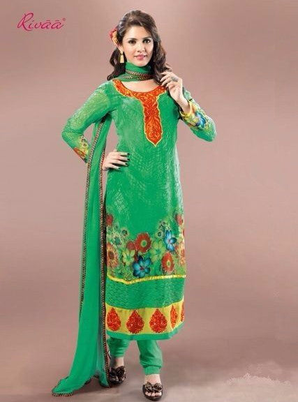 Rivaa 609 Green Color Georgette Long Designer Suit