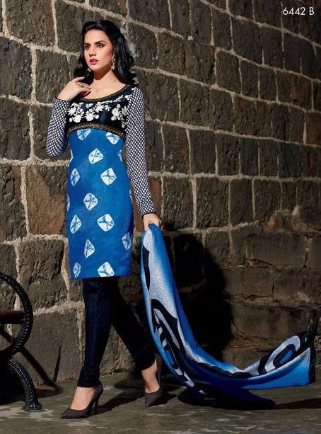 NS11491  Blue & Black Color Pashmina Designer Suit