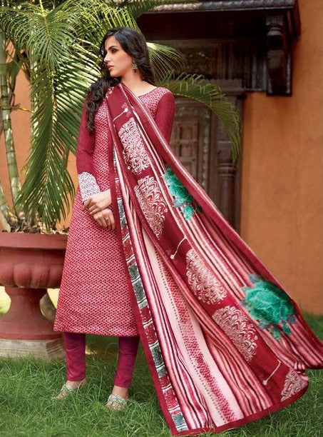 NS11493  Red Color Pashmina Designer Suit
