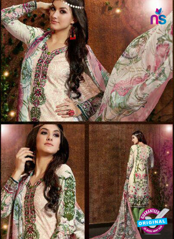 SC 13425 BeigeGreen Embroidered Lawn Cotton Straight Suit