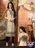 SC 13428 Beige and Black Embroidered Lawn Cotton Straight Suit