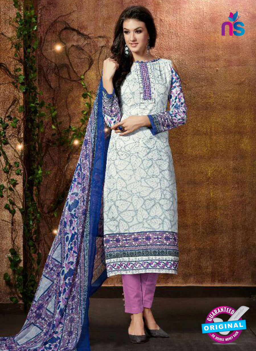 SC 13426 White and Multicolor Embroidered Lawn Cotton Straight Suit