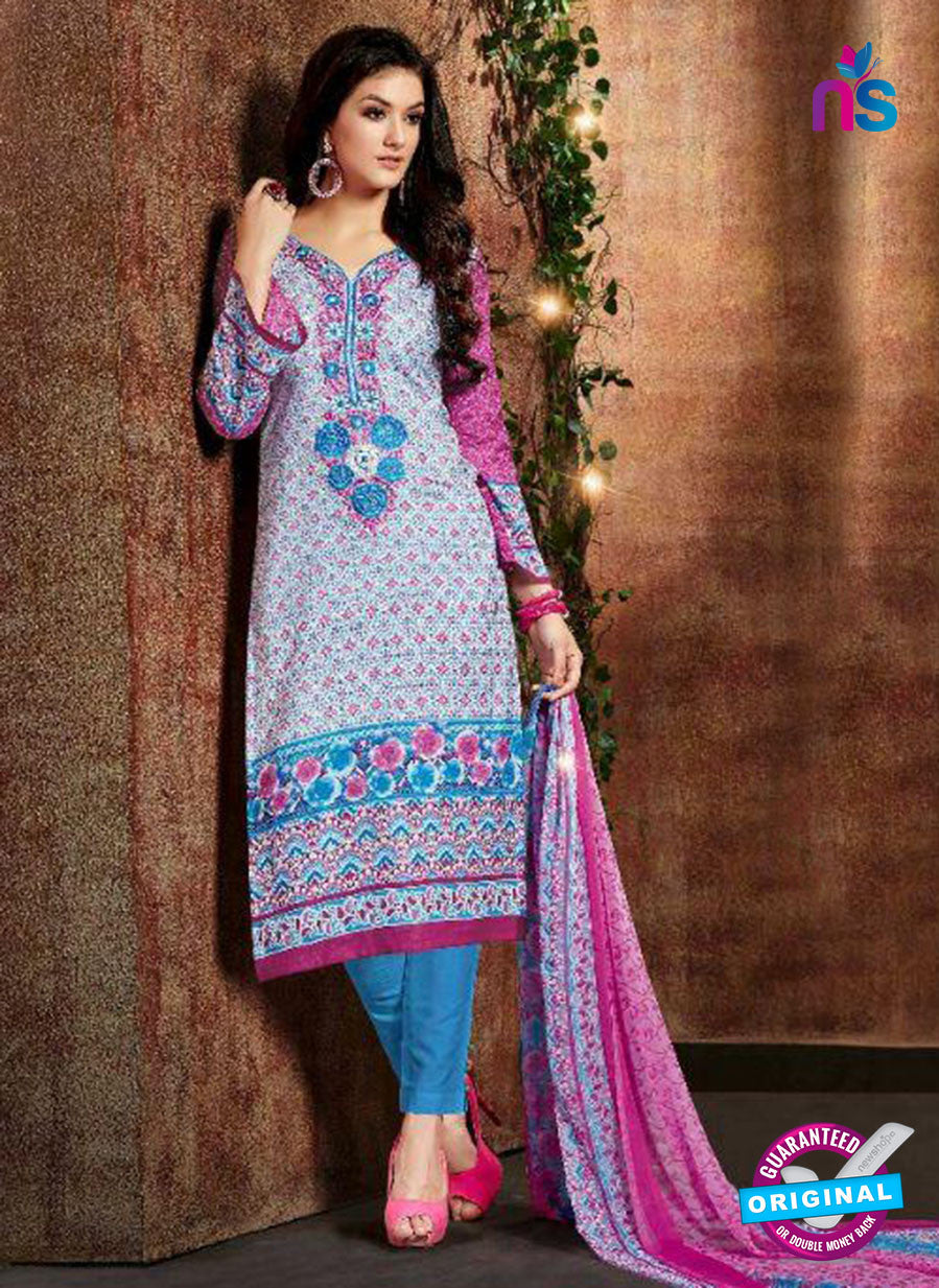 SC 13432 Blue and Multicolor Embroidered Lawn Cotton Straight Suit