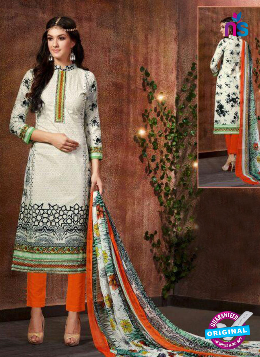 SC 13431 White and Orange Embroidered Lawn Cotton Straight Suit