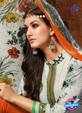 SC 13431 White and Orange Embroidered Lawn Cotton Straight Suit Online