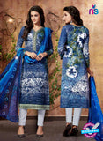 SC 13433 Blue and White Embroidered Lawn Cotton Straight Suit