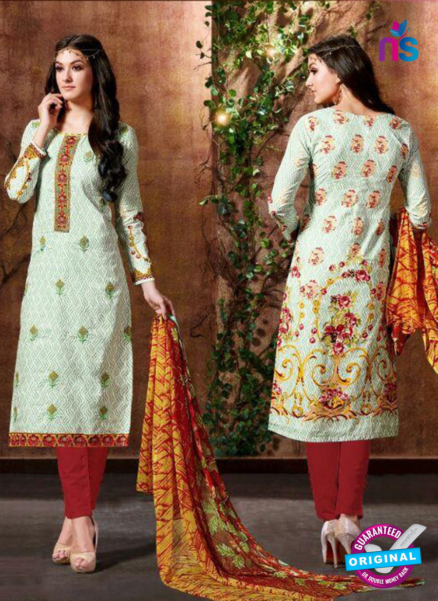 SC 13430 White and Maroon Embroidered Lawn Cotton Straight Suit