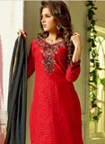 NS11554 Red and Black Designer Brasso Straight Suit