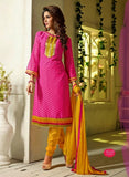 NS11555 Pink and Yellow Designer Brasso Straight Suit