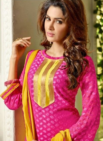 NS11555 Magenta and Yellow Designer Brasso Straight Suit