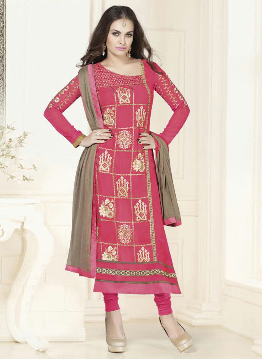 NS11583 Pink Georgette Party Wear Straight Suit