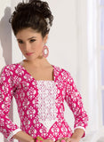 NS11585 Pink Printed Cotton Straight Suit Online