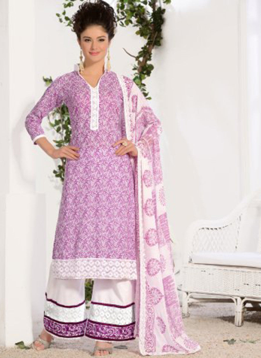 NS11586 Purple Printed Cotton Straight Suit