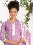 NS11586 Purple Printed Cotton Straight Suit Online