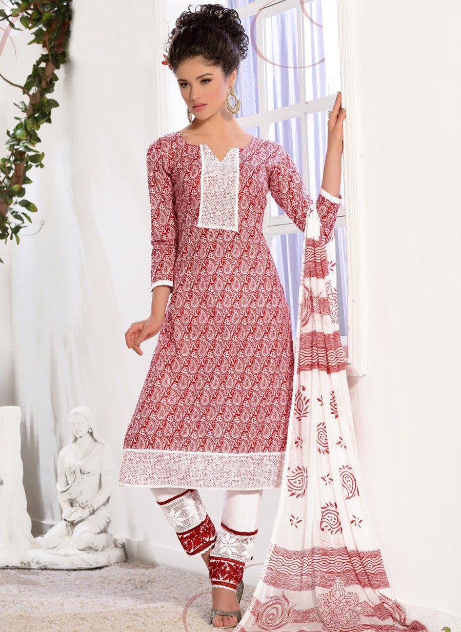 NS11587 Red Printed Cotton Straight Suit