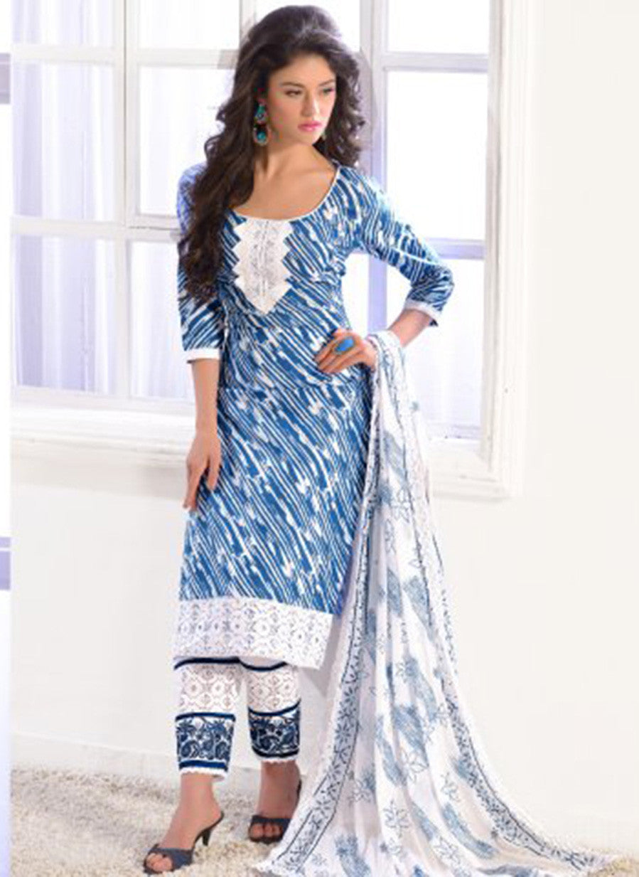 NS11588 Blue and White Printed Cotton Straight Suit