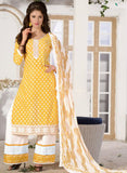 NS11589 Yellow and White Printed Cotton Straight Suit