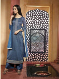 NS11605  Blue Color Satin Cotton Long Designer Suit
