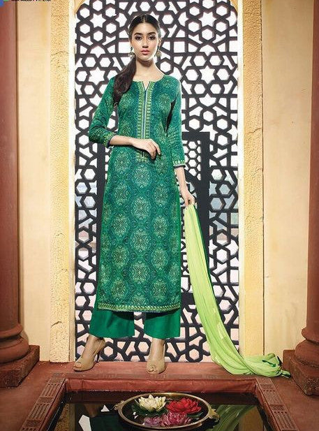 NS11606  Green Color Satin Cotton Long Designer Suit