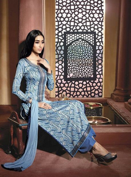 NS11607  Blue Color Satin Cotton Long Designer Suit