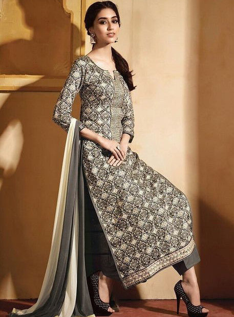 NS11608  Grey Color Satin Cotton Long Designer Suit