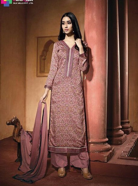 NS11609  Pink Color Satin Cotton Long Designer Suit