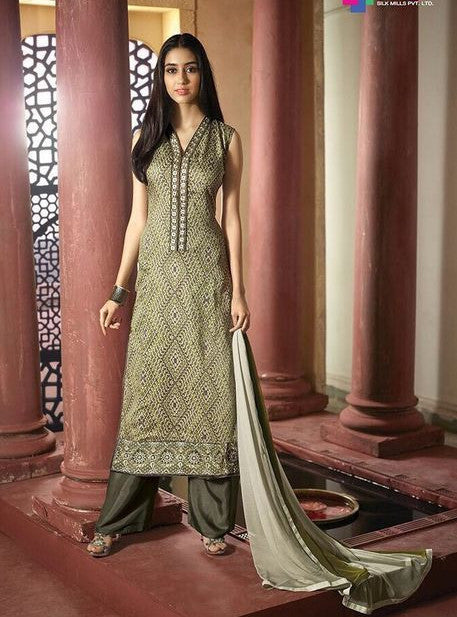 NS11610  Green Color Satin Cotton Long Designer Suit