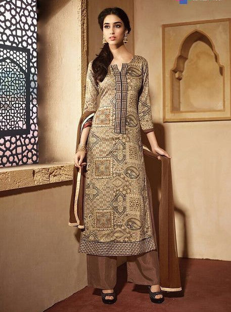 NS11611  Brown Color Satin Cotton Long Designer Suit