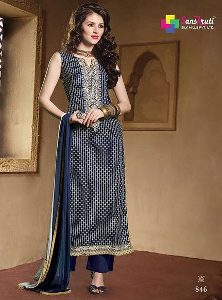 NS11615  Blue Color Satin Cotton Long Designer Suit