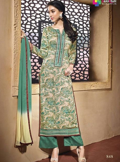 NS11617  Green Color Satin Cotton Long Designer Suit