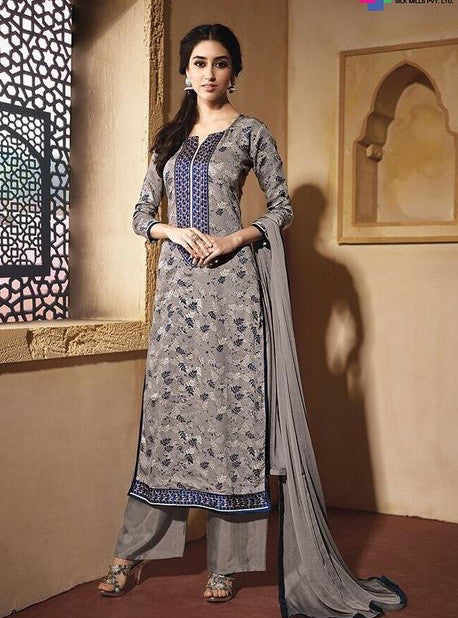 NS11618  Grey Color Satin Cotton Long Designer Suit