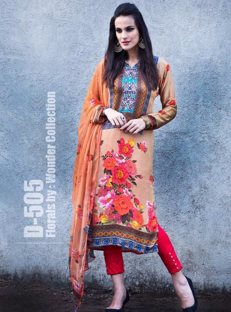Satin Print 505  Peach Color Satin Crape Long Designer Suit