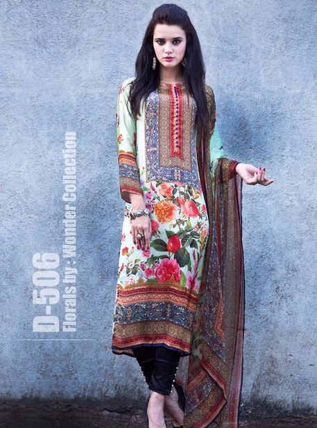 Satin Print 506  Multi Color Satin Crape Long Designer Suit