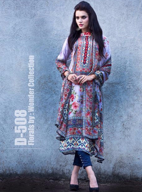 Satin Print 508  Blue Color Satin Crape Long Designer Suit