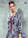 SC 13983 Blue Rayon Cotton Western Style Tunic