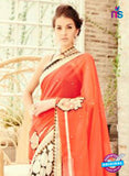 NS11737 Orange and FantaOrange Wedding Wear Crape, Georgette, Net Saree