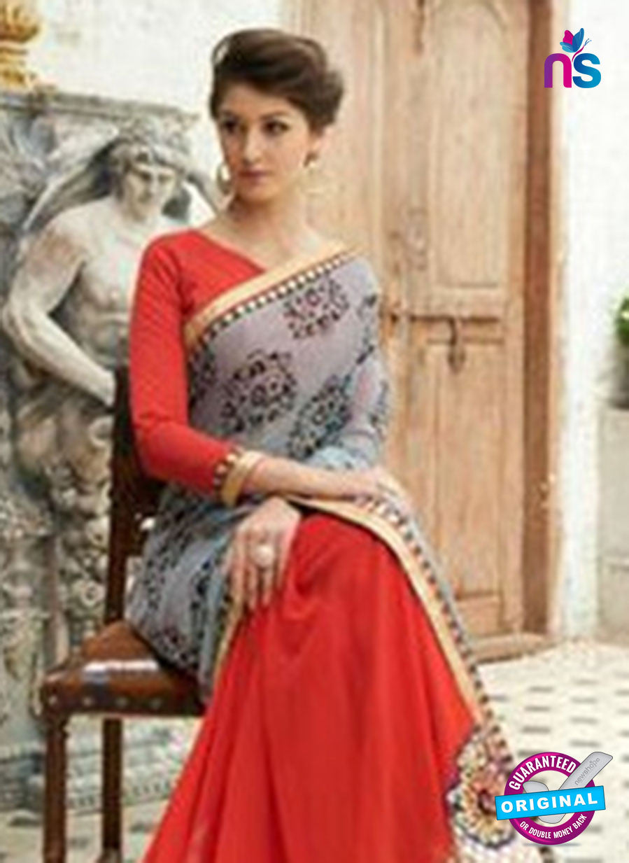 NS11739 Grey and Red Wedding Wear Crape, Georgette, Net Saree